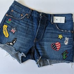 Levi's 501 patchwork embroidered shorts size 31